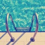Swimming pool steps. Instagram style filtred image