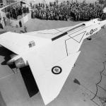 The first Avro Arrow, RL-201, is officially rolled out on 4 October 1957. Libraries and Archives Canada MIKAN 3596416, PA-210520